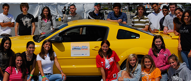 Image courtesy: www.drivingskillsforlife.com / Students participating in Ford's Driving Skills for Life program